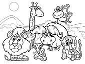 wild animals cartoon coloring page