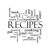 Drawings Of Recipes Word Cloud Concept In Black And White K17826814