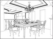 Clip Art Of Dining Room Interior K19762516
