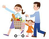 Drawing Of Happy Cartoon Family Shopping K16383713