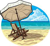 Sonnenstuhl clipart  Clipart of Chairs, umbrella, sand and sea. k16023420 - Search Clip ...