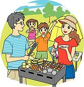 Drawing Of A Family Camping And Hiking In The Mountainside Kle0363