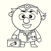 Clip Art of Outlined cute doctor k12704526 Search Clipart