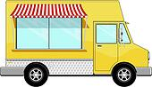 Clip Art Of Yellow Food Bus With Awning K14495896