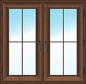 Clipart of wooden closed double window Vector illustration