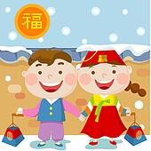 Clip art of new years card couple character new year card new years card character korean lamp new year card m4hsunfo Images