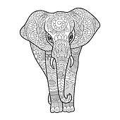 Clipart Elefant Ausmalbilder Fur Erwachsene Vektor K36303702