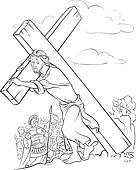 Clipart Of Coloring Page Jesus Carrying Cross K18477780 Search