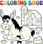 Ausmalbilder Esel Und Bauernhof Clip Art K48864628