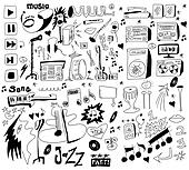 Doodles funny music background Clipart