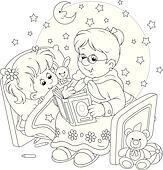 Clipart Oma Und Enkelin Lesende K28527542 Suche Clip Art