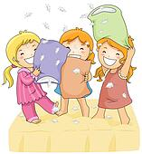 stock illustration of pillow fight k4757086 search clip art