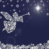 Angels Christmas Background.Christmas Angel With Trumpet And Snowflakes 2 Stock Illustration