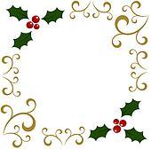Clipart Stechpalme Weihnachten Rahmen K8037580 Suche Clip Art