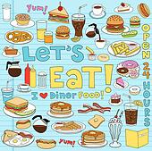 Diner Food Notebook Doodles Set Clipart