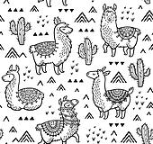 Contour Seamless Pattern With Alpaca And Cactuses Coloring