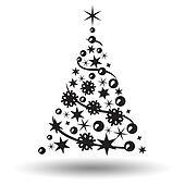 Clipart Weihnachtsbaum Isolated Abstraktes Design Logo