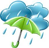 Rainy weather icon with clouds and umbrella Clip Art ...