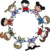 Mixed ethnic children friendship Clipart | k12536974 ...