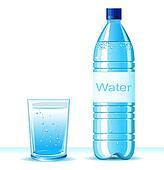 Clipart of Bottle of clean water and glass on white ... Water Bottle Clip Art Pic