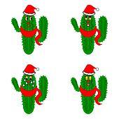 Christmas Cactus Clipart.Funny Christmas Cacti Clipart