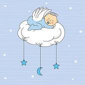 Baby boy dressed angel Clipart   k16055592   Fotosearch