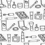 Cartoon Cosmetics Seamless Tile Clip Art K16432616